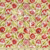 Lily Cotton Fabric - Floral Tile - Pink 150204-2
