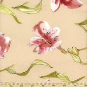 Lily Cotton Fabric - Floral Toss - Beige 150201-2