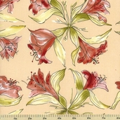 Lily Cotton Fabric - Lilies - Beige 150202-2