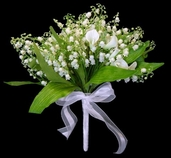 Lily of the Valley and Calla Lily with Pearl Bouquet - 12in - White