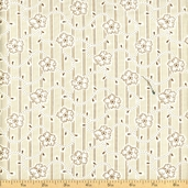 Linen Closet Floral Stripe Cotton Fabric - Cream