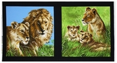 Lions Cotton Fabric Panel