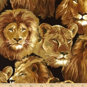 Lions Head Cotton Fabric - Black