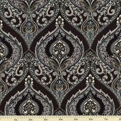 Little Black Dress Damask Ogee Cotton Fabric - Black