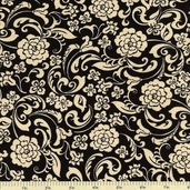 Little Black Dress Drama Mod Cotton Fabric - Black Tan