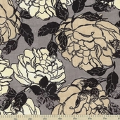 Little Black Dress Roses Corset Cotton Fabric - Grey