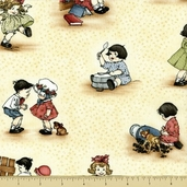 Little Darlings Cotton Fabric - Kids Fun - Cream