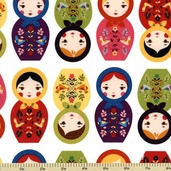 Little Kukla Cotton Fabric - Dolls - Bright ASD-12817-195