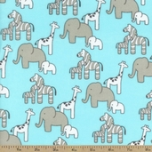 Little Safari Animal Flannel Fabric - Aqua
