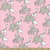 Little Safari Animal Flannel Fabric - Pink