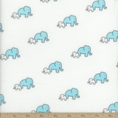 Little Safari Elephants Flannel Cotton Fabric - Aqua