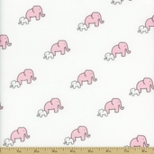 Little Safari Elephants Flannel Cotton Fabric - Pink