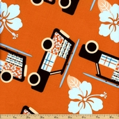 Little Surfer Boy Cotton Fabric - Orange Y1201-36