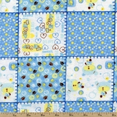 Little Teddy Patchwork Flannel Fabric - Blue DT-2146-2F