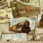 Locomotion Ride the Rails Cotton Fabric - Sand 02695-07