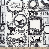 Lost and Found Christmas Cotton Fabric - Black