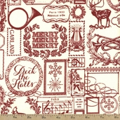 Lost and Found Christmas Cotton Fabric - Red