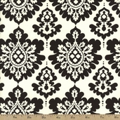 Lost and Found Christmas Damask Cotton Fabric - Black