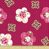 Love and Hope Flower Toss Cotton Fabric -Fuchsia 22205-V