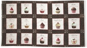 Love at First Bite Cupcake Panel Cotton Fabric - Brown 35519