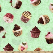 Love at First Bite Cupcake Toss Cotton Fabric - Green 35521-2