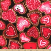 Love Is All Around Sweet Hearts Cotton Fabric - Black