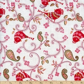 Love & Joy Dotty Birds Cotton Fabric - White PWDF156-WHITE
