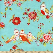 Love & Joy Floral Birds Cotton Fabric - Aqua PWDF154-AQUA