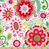 Love & Joy Packed Floral Cotton Fabric - Green PWDF158-GREEN