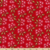 Love & Joy Small Floral Cotton Fabric - Red PWDF157-RED