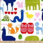 Love, Luck, and Liberty I *heart* Animals Cotton Fabric - Primary