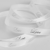 Printed Love Ribbon 3/8in. - White/ Silver - 55yds