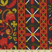 Lucky Penny Cotton Fabric - Floral Stripe - Multi Color 5864-BC