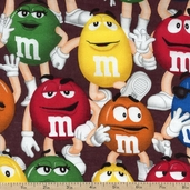 M and M Funfetti Packed Cotton Fabric - Chocolate