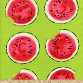 Mad for Melon Take a Bite Cotton Fabric - Lime