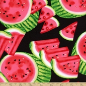 Mad for Melon Wedges Cotton Fabric - Black