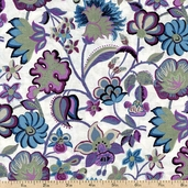 Madison Floral Cotton Fabric - Pewter J7003-76 PEWTER