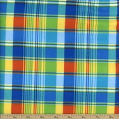 Madras Plaid Flannel Fabric - Blue
