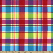 Madras Plaid Flannel Fabric - Pink