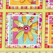 Magic Garden Cotton Fabric Square Rows