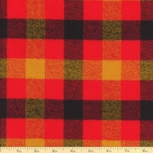 Mammoth Flannel Gingham Plaid Cotton Fabric - Crimson
