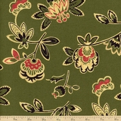 Marakesh Cotton Fabric - Green floral