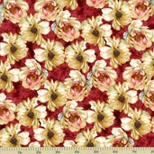 Marche De Fleurs Floral Cotton Fabric - Red 86302-313W
