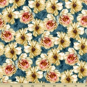 Marche De Fleurs Floral Cotton Fabric Teal 86302-413W