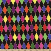 Mardi Gras Diamonds Cotton Fabric - Black