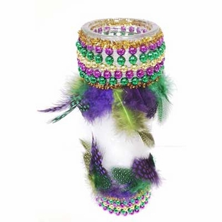 Mardi Gras Glass Candle