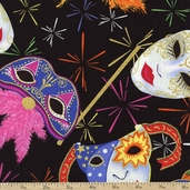 Mardi Gras Mask Toss Cotton Fabric - Black