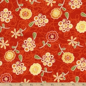 Marmalade Cottage Floral Cotton Fabric - Dark Orange 1015-76335-857W