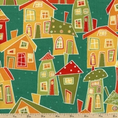 Marmalade Cottage Scenic Cotton Fabric - Teal Q1015-76334-487W