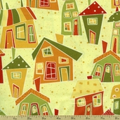 Marmalade Cottage Scenic Cotton Fabric - Yellow 1015-76334-587W